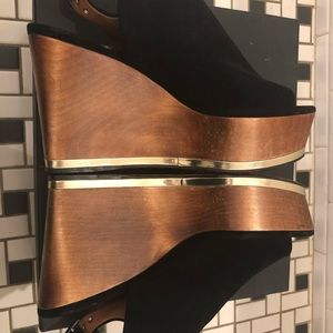 Givenchy Black Brown Gold Suede Wooden Heel!
